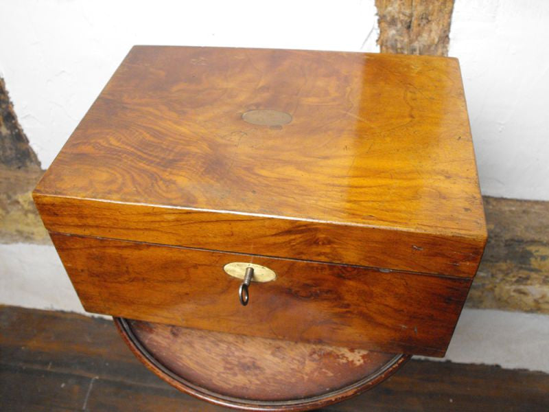 A Victorian Figured Walnut Writing Slope Box with Brass Inlay