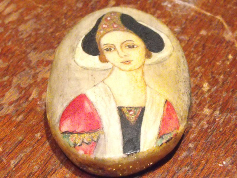 A Charming Mid 18th Century Oval Bone Pendant Portrait Miniature of a Lady
