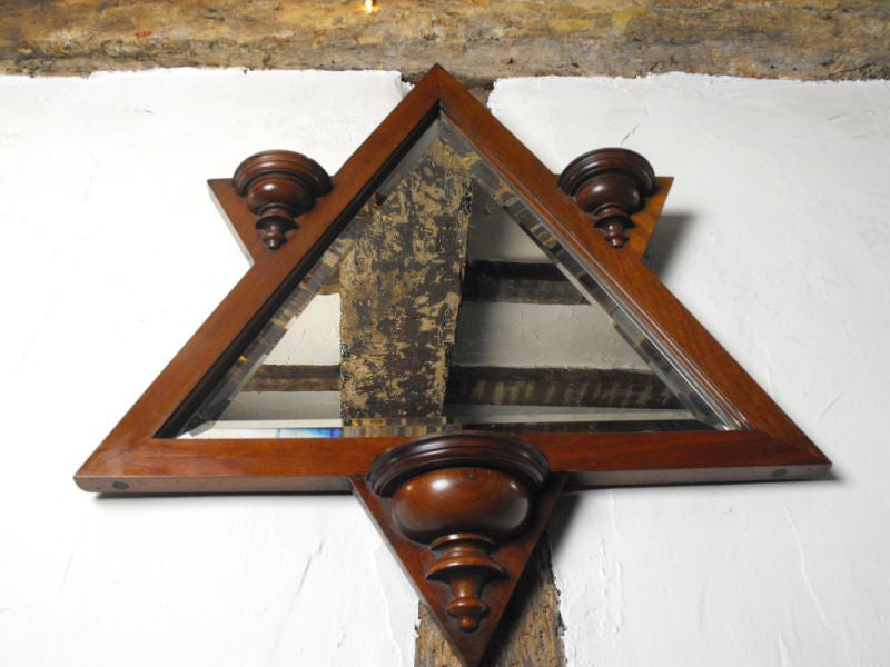 A Fabulous Walnut Arts & Crafts Six Pointed Star Framed Wall Mirror