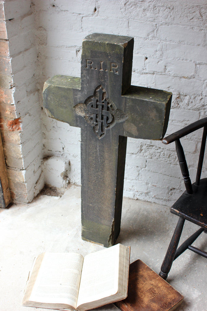 A Unique Carved c.1860 Sandstone Gravestone in the Form of a Latin Cross
