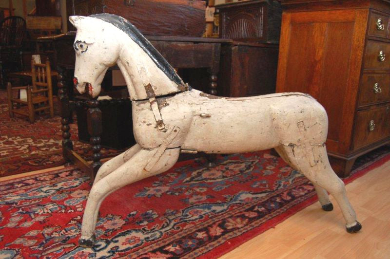 A Charming Painted & Carved 19th Century Folk Art Carousel Horse