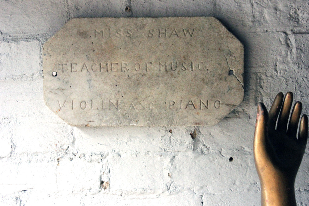 "A Carved c.1900 Marble Plaque Incised ""Miss Shaw, Teacher of Music, Violin and Piano"""