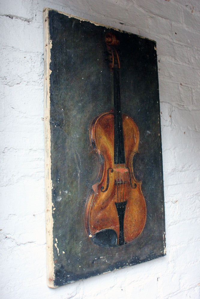 A Charming Late 19thC Oil on Canvas of a Violin