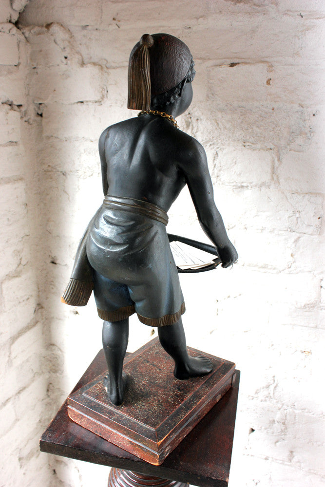 A Wonderful Early 20thC Venetian Butler / Dumb Waiter Stand Formed as a Blackamoor