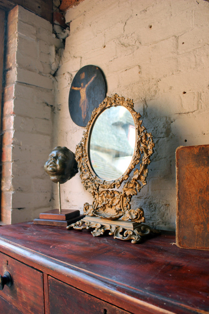 A Pretty Late 19thC Gilt Painted Cast Iron Swing Framed Dressing Table Mirror