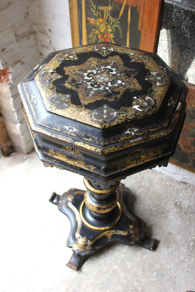 A Profusely Inlaid Octagonal Papier-Mâché Work Table c.1850