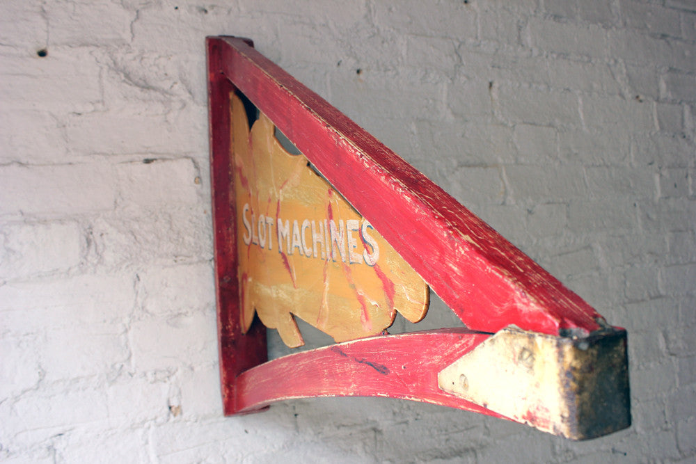 "A Mid 20thC Hand Painted ""Penny a Go/Slot Machines"" Double Sided Fairground Panel Canopy Bracket Sign"