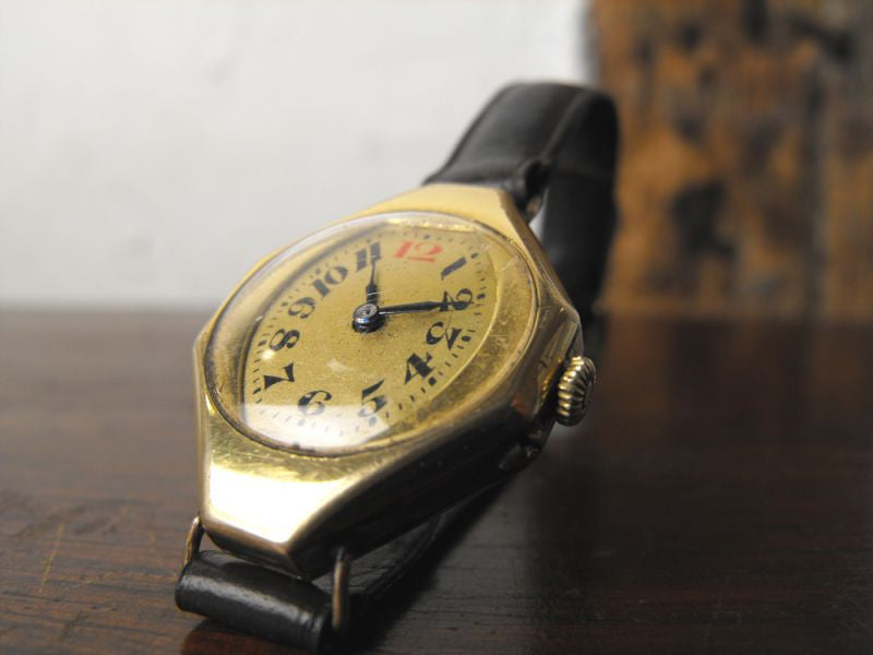 An Unusual Art Deco Gold Plated Wrist Watch, Dated 1916