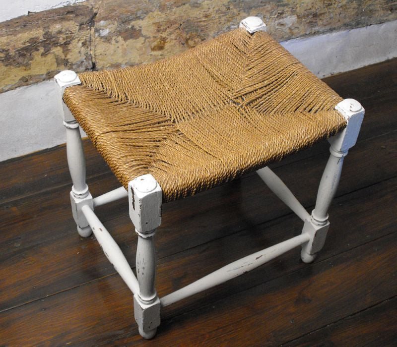 A Versatile 1930's Vintage Painted Oak & Woven Cord Seated Stool
