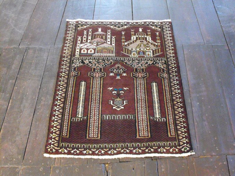 A Highly Unique Torkaman Rug: 111cm x 81cm