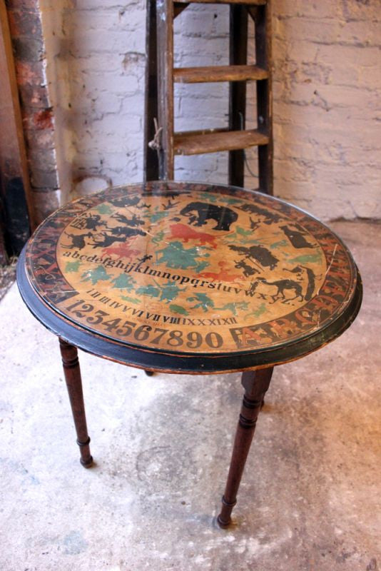 A Rare c.1876 American `Nursery Dial` Table Lithographed by Louis Prang & Co. Boston