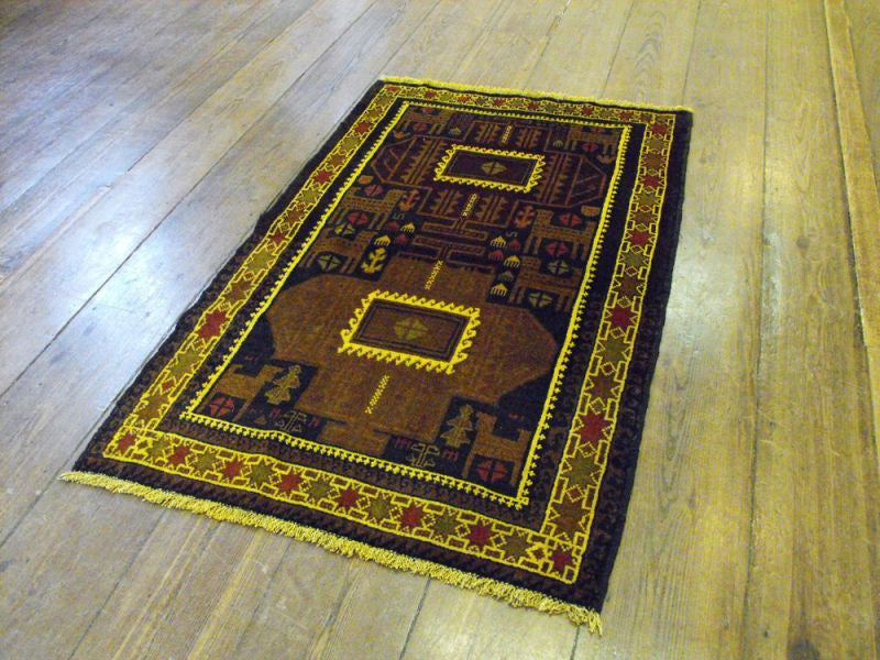 A Highly Stylised Herat Belouche Rug: 148cm x 88cm
