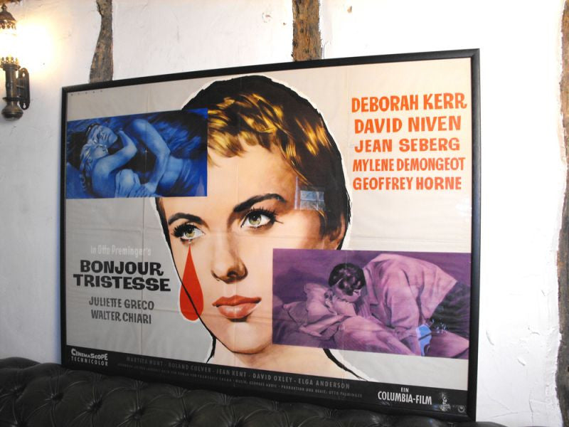 A Striking Framed Original 1950s German Vintage Cinema Poster for 'Bonjour Tristesse'