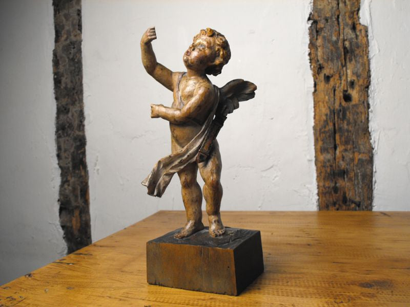 An Enchanting 19thC European Carved Polychrome Figure of Cupid
