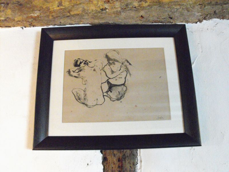 Rowley Gallery: An Early 20thC Pen & Ink Sketch of Two Seated Girls