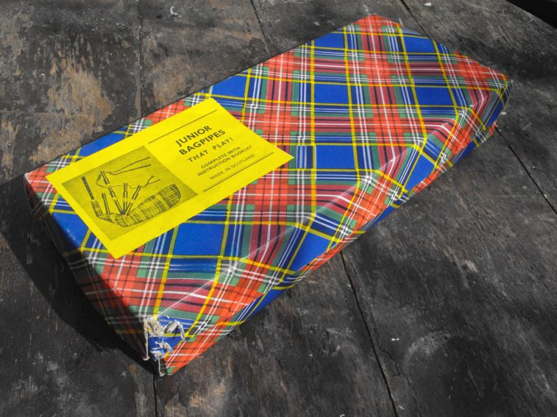 A Boxed Set of Vintage Child's Bagpipes by Monteiths of Glasgow