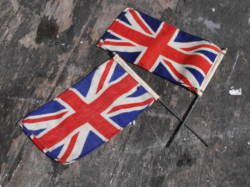 A Pair of Vintage Car or Hand-Held Union Jack Flags