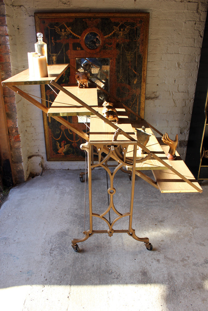 A Good Set of Cast-Iron & Pine Shop Display Metamorphic Table Shelves