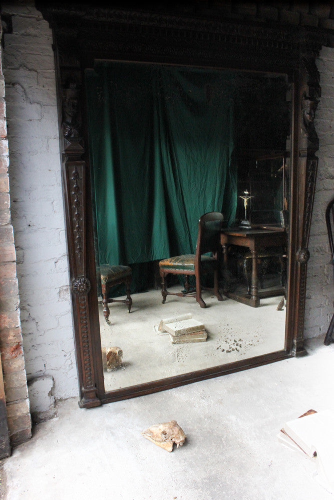 A Very Large c.1900 Carved Oak Wall Mirror