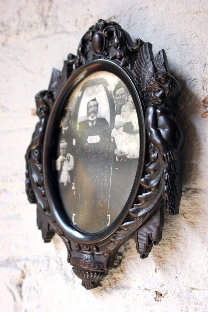 A Very Good Quality c.1860 French Bois Durci Mourning Picture Frame