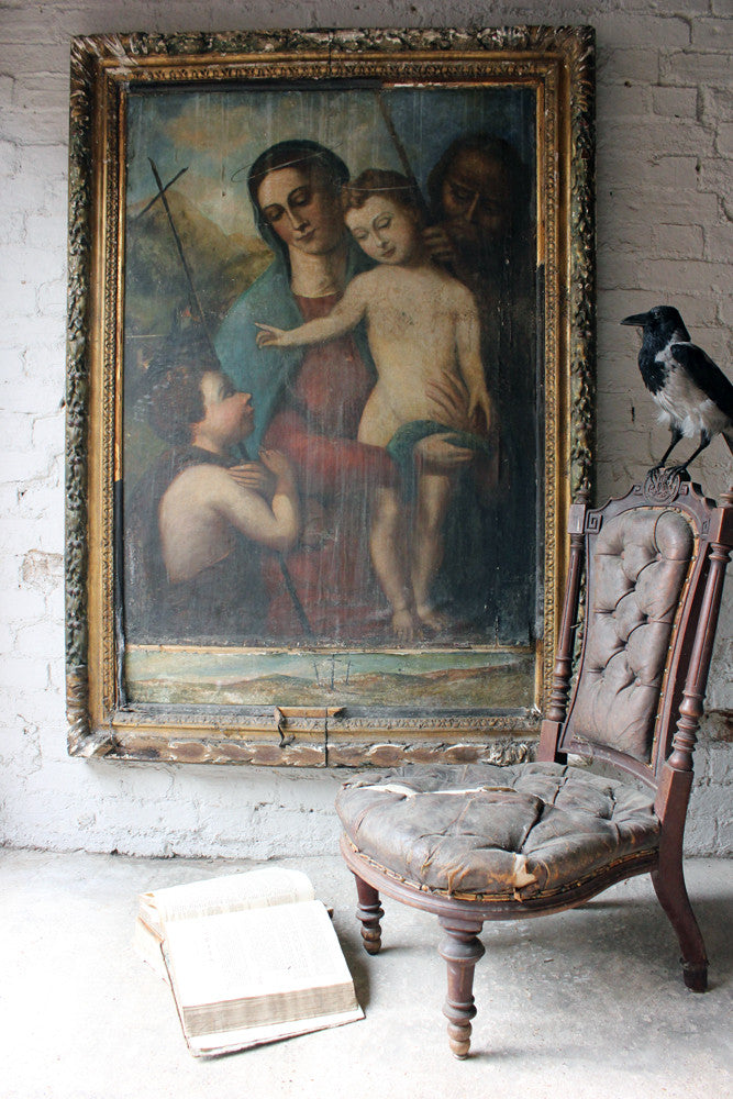 Manner of Marco Palmezzano: An 18thC Oil on Canvas Laid on Board; The Holy Family with St. John The Baptist from The Church of St. John The Baptist, Bridgwater, Somerset