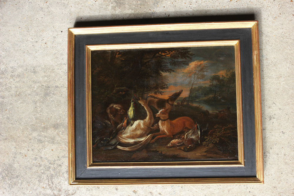 Adriaen De Gryef (Antwerp c.1670-1715 Brussels): A Pair of Oil on Canvas of Huntsmen with Hunting Dogs & Game