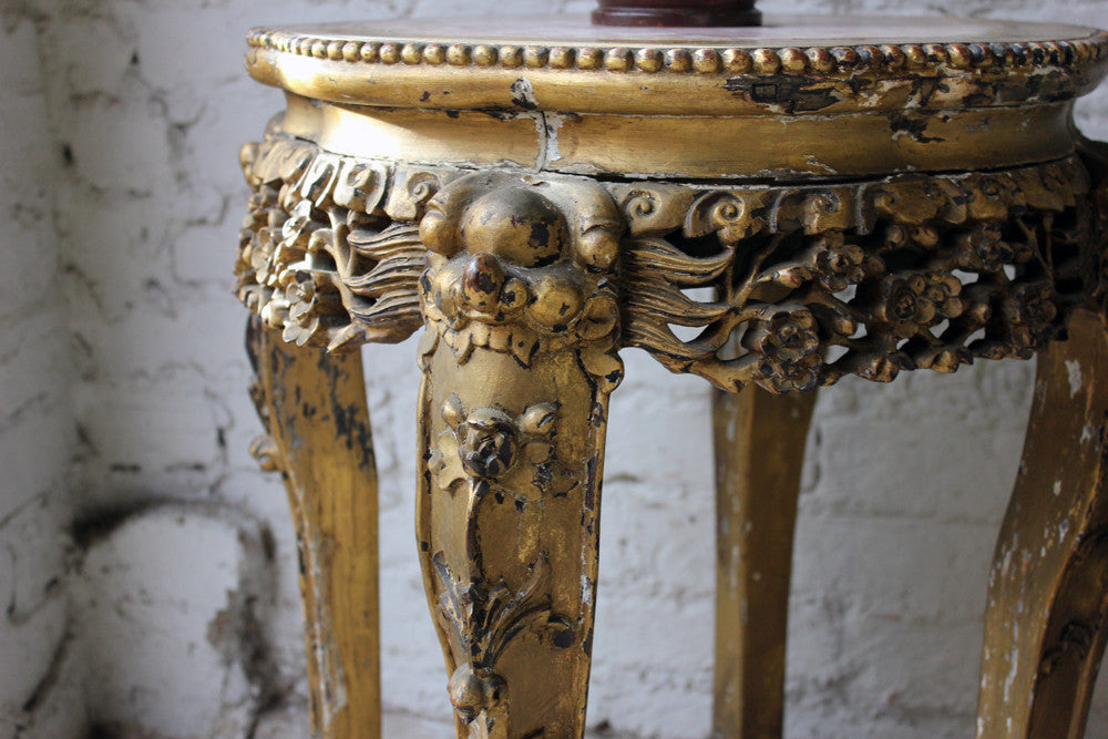 A c.1890 Chinese Marble Topped & Gilded Hardwood Occasional Table