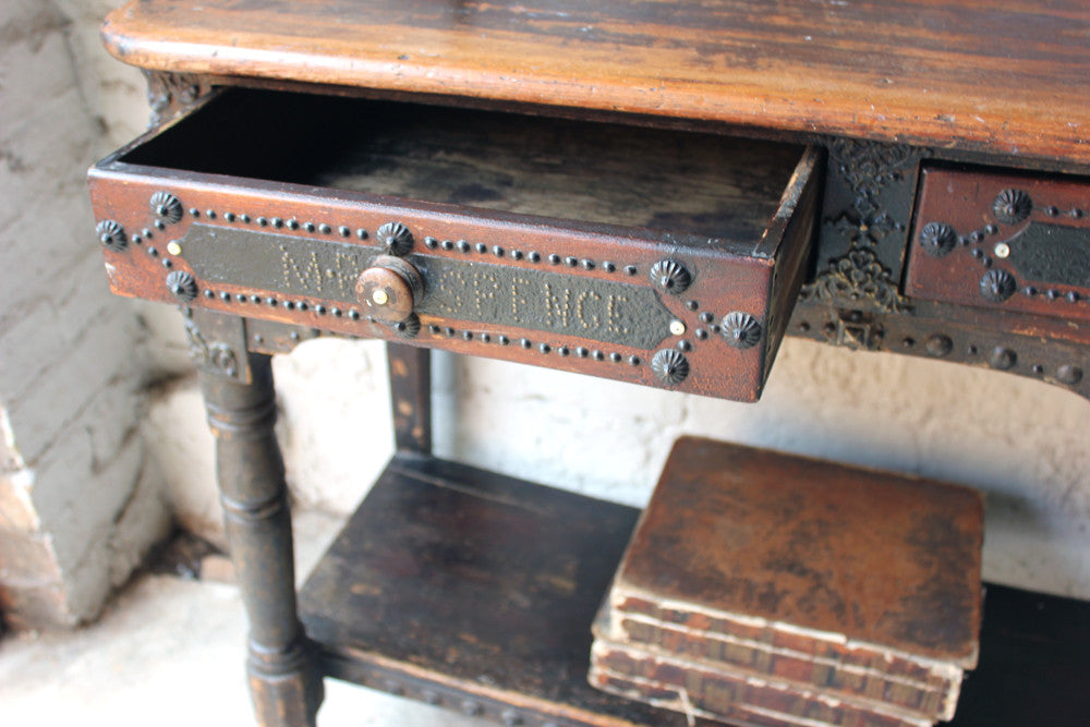 An Unusual Studded & Decorated Victorian Stained Pine Hall Table; 'Mr Spence'