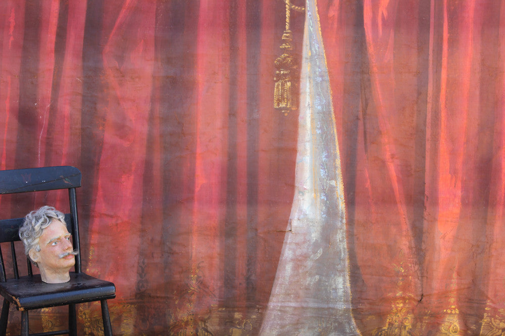 A Glorious c.1900 French Hand-Painted Theatre Canvas Backdrop