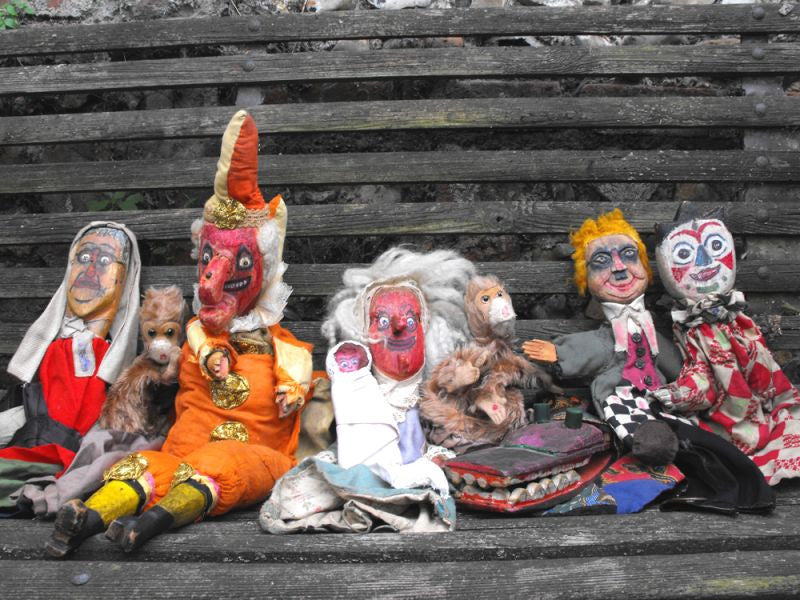 A Marvellous Group of Early 20thC English Folk Art Punch & Judy Puppets