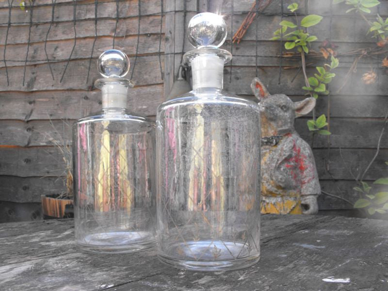 A Fine Pair of Late 19thC Glass Apothecary Bottles with Gilt Decoration