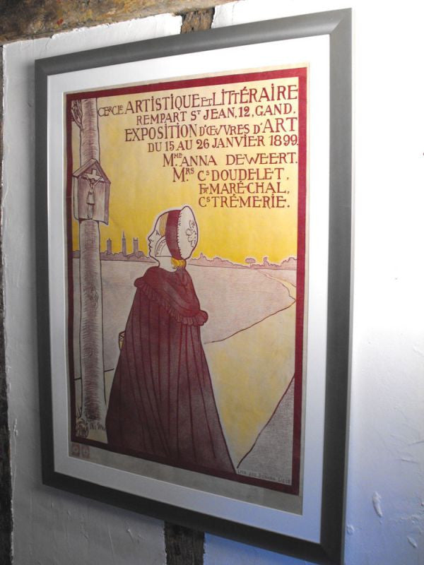 "An Original Belgian Lithographed Exhibition Poster by Anna de Weert For The Ghent ""cercle artistique et litteraire"" 15-26 January 1899"