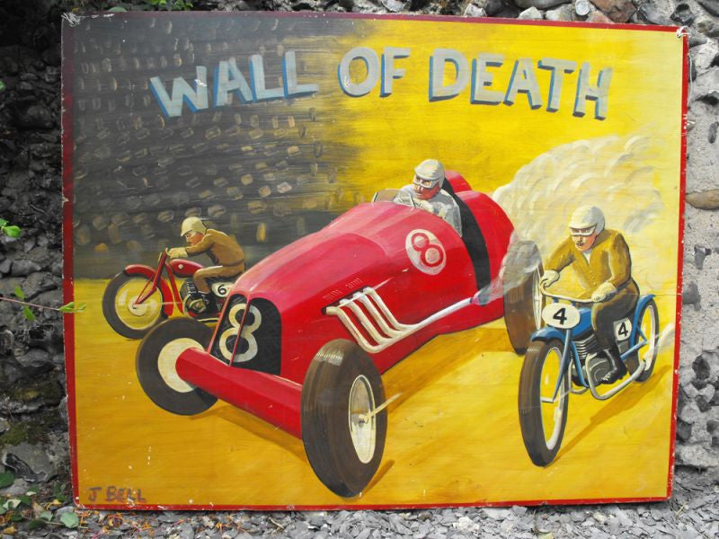 A Stupendous Large Hand Painted 'Wall Of Death' Fairground Panel Sign by J Bell