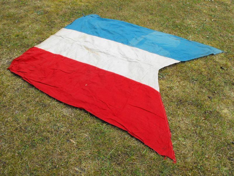 A Decorative Tri-Colour Vintage Cotton Swallowtail Flag