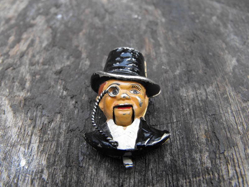 An Unusual Enamel Articulated Fur Clip Brooch, Modelled as Ventriloquist Dummy Charlie McCarthy