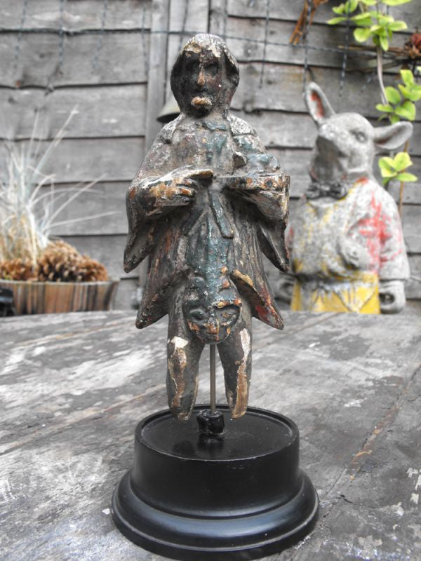 A Fine 17thC Wooden Carved & Polychromed Priest Figurine & Frog on Stand