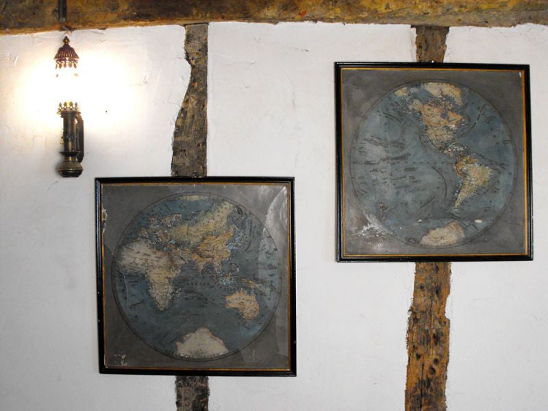 A Pair of Rare Plaster Relief Maps of the World, Published by Ernst Schotte & Co, Berlin 1876