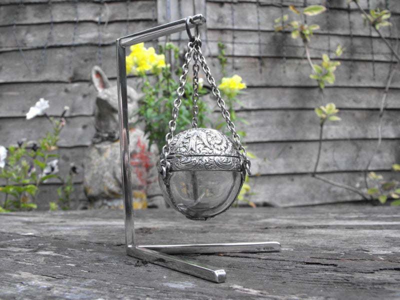 A Very Fine & Unusual 19thC Glass & White Metal Mounted Spherical Scent Bottle & Stand