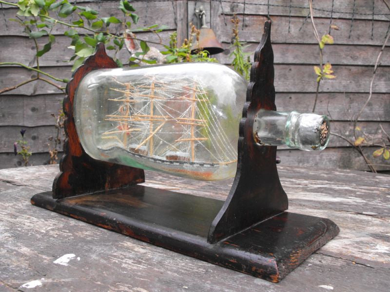 A Fine 19thC Folk Art Three Masted Ship in Bottle on Stand; 'Lizzie'