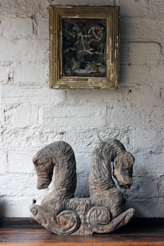 A Decorative Softwood  Chip-Carving of Two Seahorses