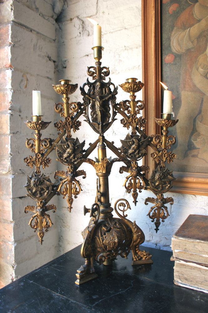 A Large Pair of c.1880 Renaissance Revival Gilt Metal Ecclesiastical Alter Candelabra