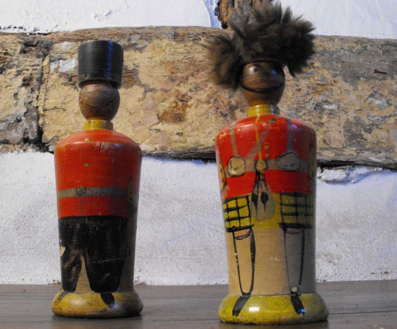 A Pair of Late 19th Century Folk Art Painted Wooden Money Boxes