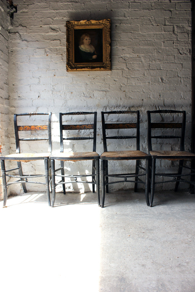 A Good Decorative Set of Four c.1810 Regency Painted & Ebonised Chairs