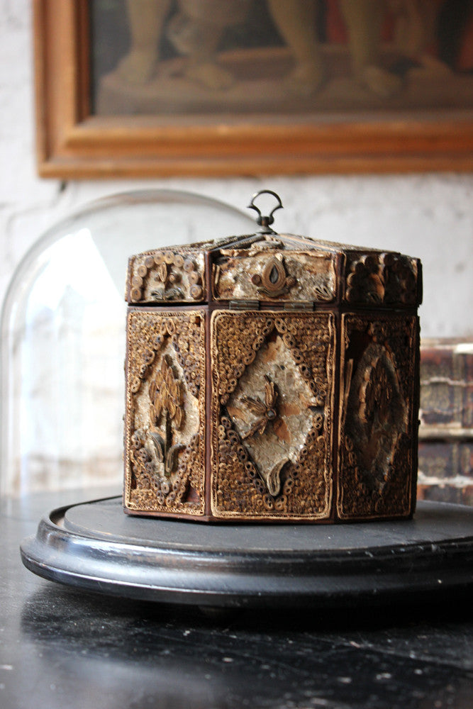 A Distressed George III Rolled Paper Filigree Octagonal Tea Caddy Under a 19thC Glass Dome