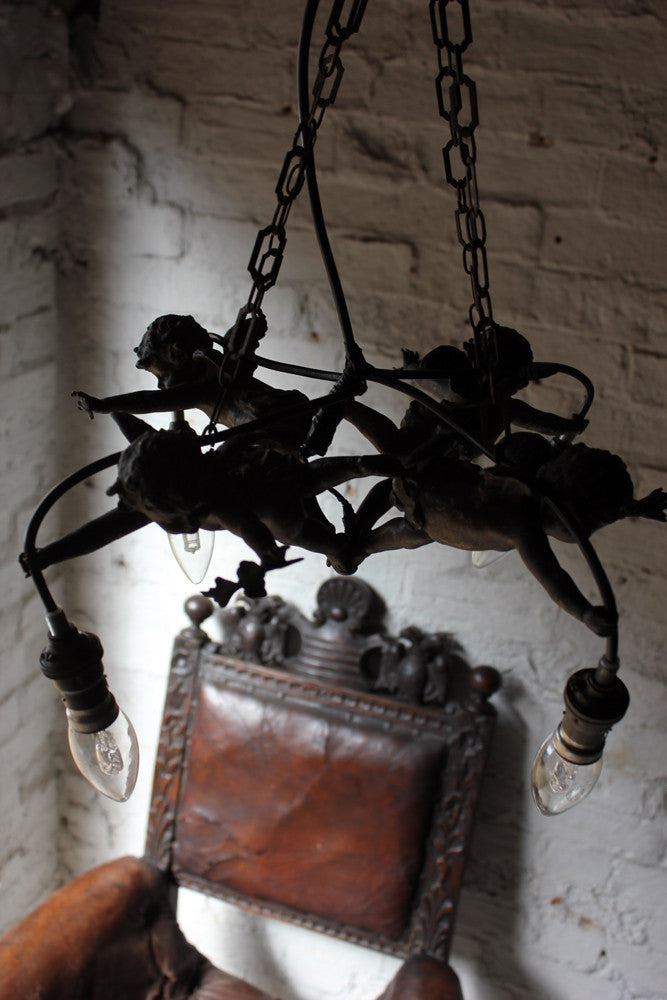 A Fabulous c.1890 Centre Light in the Form of Four Putti