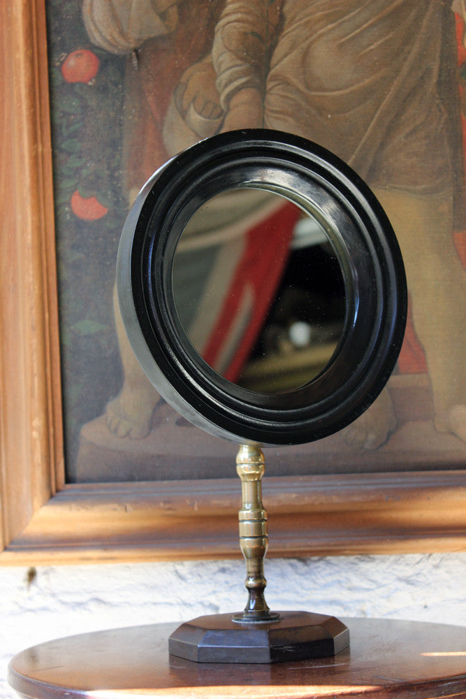 A Good Late 19thC Ebonised Gentleman's Shaving Mirror c.1880