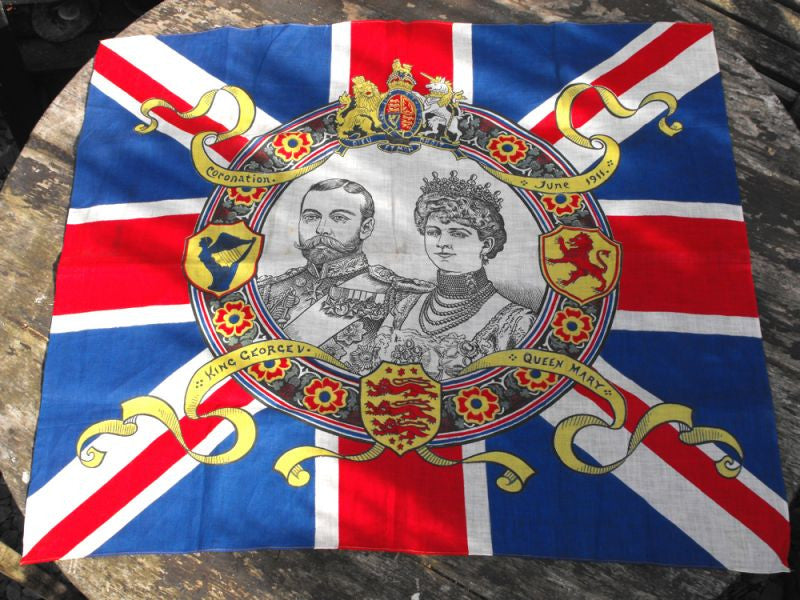 A Scarce British Antique George V & Queen Mary Coronation Flag, June 1911