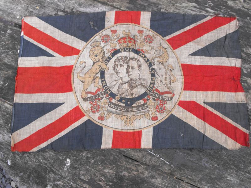 A Rare British Vintage George VI Commemorative Union Jack Flag