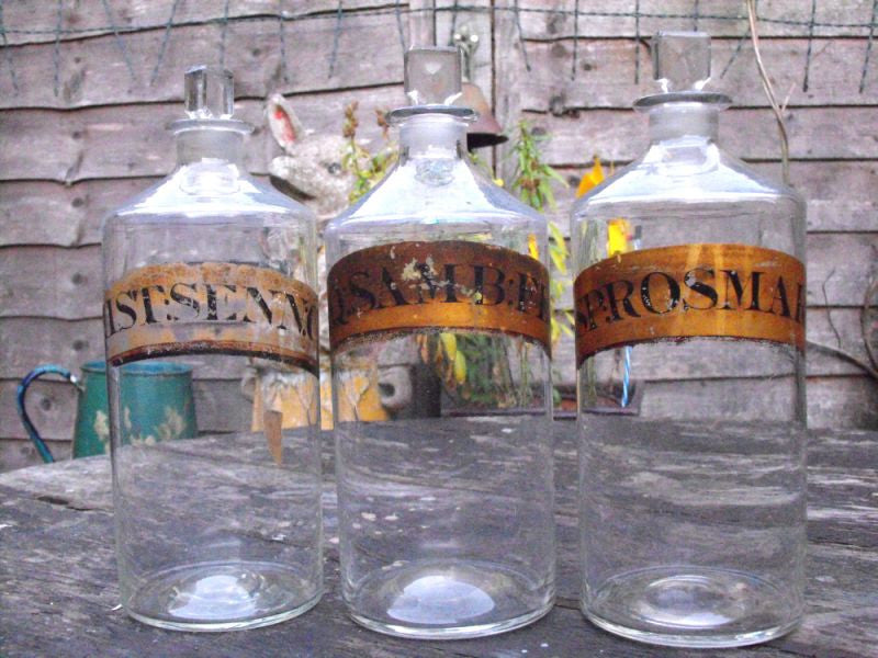 Three 19thC Glass Apothecary Bottles with Painted Gold Banners for Elder Flower Water, Mixture of Senna & Spirit of Rosemary