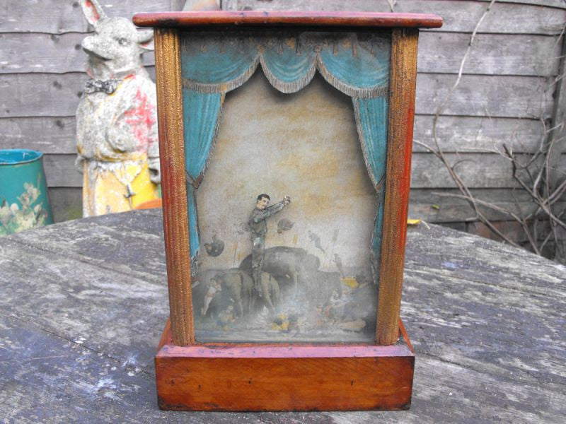 A Wonderful Rare Late 19thC Automaton Acrobat Sand Toy in Glazed Display Box